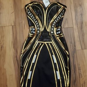 XS sequin black and gold dress